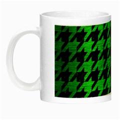 Houndstooth1 Black Marble & Green Brushed Metal Night Luminous Mugs