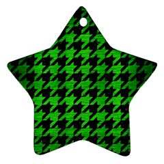 Houndstooth1 Black Marble & Green Brushed Metal Star Ornament (two Sides)