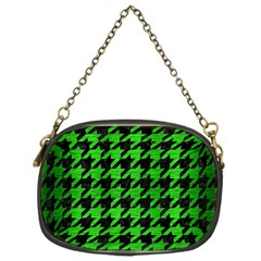 Houndstooth1 Black Marble & Green Brushed Metal Chain Purses (one Side)
