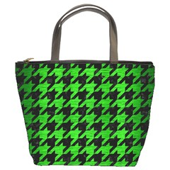Houndstooth1 Black Marble & Green Brushed Metal Bucket Bags