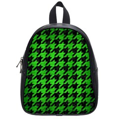 Houndstooth1 Black Marble & Green Brushed Metal School Bag (small)