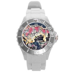 Modern Abstract Painting Round Plastic Sport Watch (l)