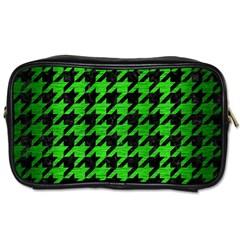 Houndstooth1 Black Marble & Green Brushed Metal Toiletries Bags