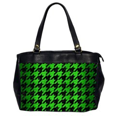 Houndstooth1 Black Marble & Green Brushed Metal Office Handbags (2 Sides)