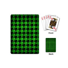 Houndstooth1 Black Marble & Green Brushed Metal Playing Cards (mini)
