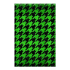 Houndstooth1 Black Marble & Green Brushed Metal Shower Curtain 48  X 72  (small)