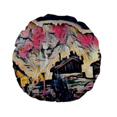 Modern Abstract Painting Standard 15  Premium Round Cushions