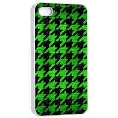Houndstooth1 Black Marble & Green Brushed Metal Apple Iphone 4/4s Seamless Case (white)
