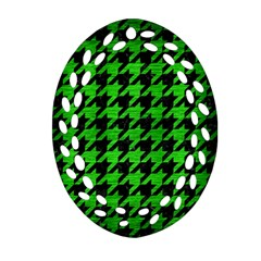 Houndstooth1 Black Marble & Green Brushed Metal Ornament (oval Filigree)