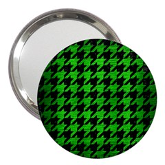 Houndstooth1 Black Marble & Green Brushed Metal 3  Handbag Mirrors