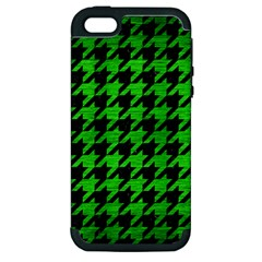 Houndstooth1 Black Marble & Green Brushed Metal Apple Iphone 5 Hardshell Case (pc+silicone)