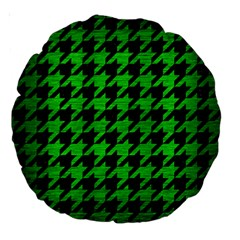 Houndstooth1 Black Marble & Green Brushed Metal Large 18  Premium Round Cushions