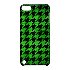 Houndstooth1 Black Marble & Green Brushed Metal Apple Ipod Touch 5 Hardshell Case With Stand