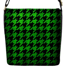 Houndstooth1 Black Marble & Green Brushed Metal Flap Messenger Bag (s)