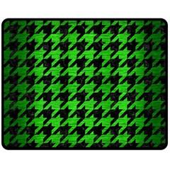 Houndstooth1 Black Marble & Green Brushed Metal Double Sided Fleece Blanket (medium)