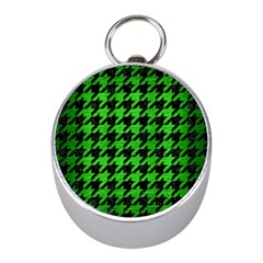 Houndstooth1 Black Marble & Green Brushed Metal Mini Silver Compasses