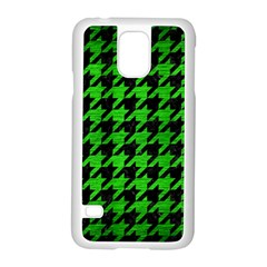 Houndstooth1 Black Marble & Green Brushed Metal Samsung Galaxy S5 Case (white)