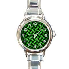Houndstooth2 Black Marble & Green Brushed Metal Round Italian Charm Watch
