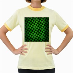 Houndstooth2 Black Marble & Green Brushed Metal Women s Fitted Ringer T Shirts
