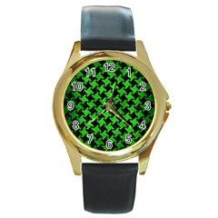 Houndstooth2 Black Marble & Green Brushed Metal Round Gold Metal Watch