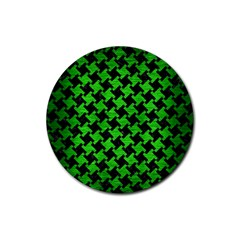 Houndstooth2 Black Marble & Green Brushed Metal Rubber Round Coaster (4 Pack)