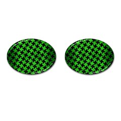 Houndstooth2 Black Marble & Green Brushed Metal Cufflinks (oval)