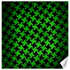 Houndstooth2 Black Marble & Green Brushed Metal Canvas 12  X 12