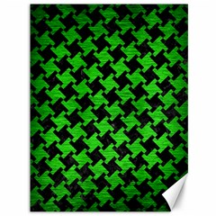 Houndstooth2 Black Marble & Green Brushed Metal Canvas 36  X 48