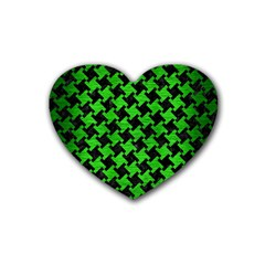 Houndstooth2 Black Marble & Green Brushed Metal Rubber Coaster (heart)