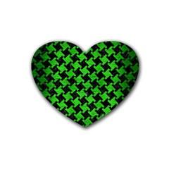 Houndstooth2 Black Marble & Green Brushed Metal Heart Coaster (4 Pack)