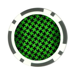 Houndstooth2 Black Marble & Green Brushed Metal Poker Chip Card Guard
