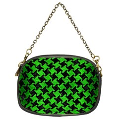 Houndstooth2 Black Marble & Green Brushed Metal Chain Purses (one Side)