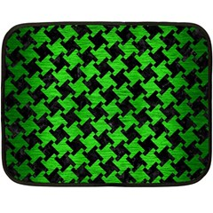 Houndstooth2 Black Marble & Green Brushed Metal Double Sided Fleece Blanket (mini)