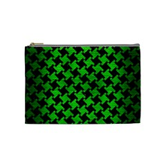 Houndstooth2 Black Marble & Green Brushed Metal Cosmetic Bag (medium)
