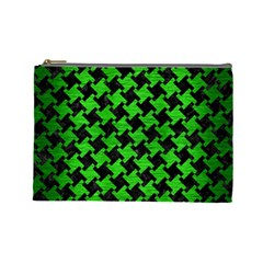 Houndstooth2 Black Marble & Green Brushed Metal Cosmetic Bag (large)