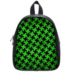 Houndstooth2 Black Marble & Green Brushed Metal School Bag (small)
