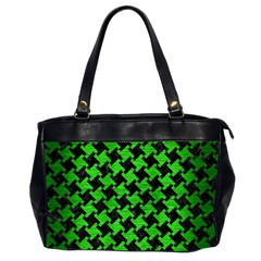 Houndstooth2 Black Marble & Green Brushed Metal Office Handbags (2 Sides)