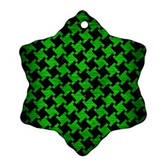 Houndstooth2 Black Marble & Green Brushed Metal Snowflake Ornament (two Sides)