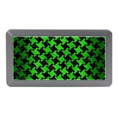 Houndstooth2 Black Marble & Green Brushed Metal Memory Card Reader (mini)
