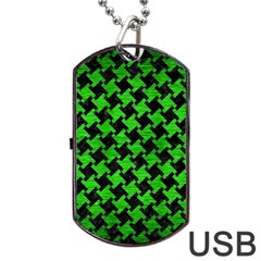 Houndstooth2 Black Marble & Green Brushed Metal Dog Tag Usb Flash (two Sides)