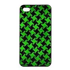 Houndstooth2 Black Marble & Green Brushed Metal Apple Iphone 4/4s Seamless Case (black)