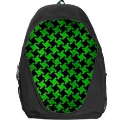 Houndstooth2 Black Marble & Green Brushed Metal Backpack Bag