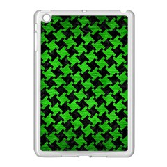 Houndstooth2 Black Marble & Green Brushed Metal Apple Ipad Mini Case (white)
