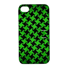 Houndstooth2 Black Marble & Green Brushed Metal Apple Iphone 4/4s Hardshell Case With Stand