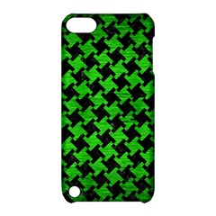 Houndstooth2 Black Marble & Green Brushed Metal Apple Ipod Touch 5 Hardshell Case With Stand