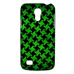 Houndstooth2 Black Marble & Green Brushed Metal Galaxy S4 Mini