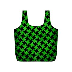 Houndstooth2 Black Marble & Green Brushed Metal Full Print Recycle Bags (s)