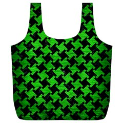 Houndstooth2 Black Marble & Green Brushed Metal Full Print Recycle Bags (l)