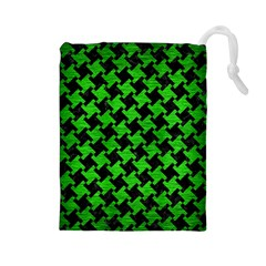 Houndstooth2 Black Marble & Green Brushed Metal Drawstring Pouches (large)