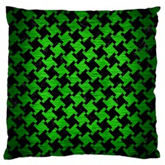 Houndstooth2 Black Marble & Green Brushed Metal Large Flano Cushion Case (one Side)